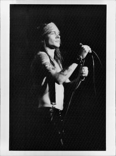 Axl Rose Holding Microphone on Stage Vintage Original Photograph