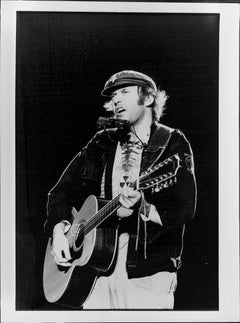 Neil Young Playing Guitar in Newsboy Hat Vintage Original Photograph