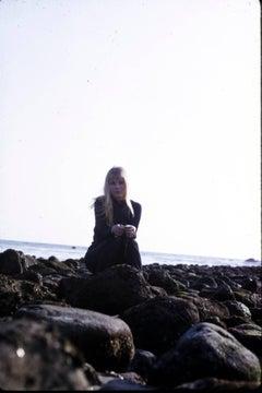 Mia Farrow Sitting on the Beach Fine Art Print