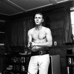 Shirtless Steve McQueen Holding Gun Fine Art Print