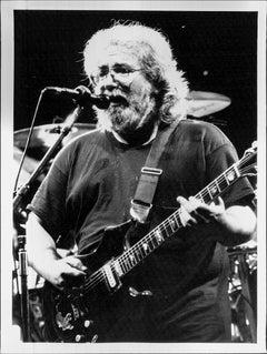 Jerry Garcia Singing into Mic Vintage Original Photograph