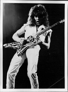 Eddie Van Halen Shredding on Guitar Vintage Original Photograph