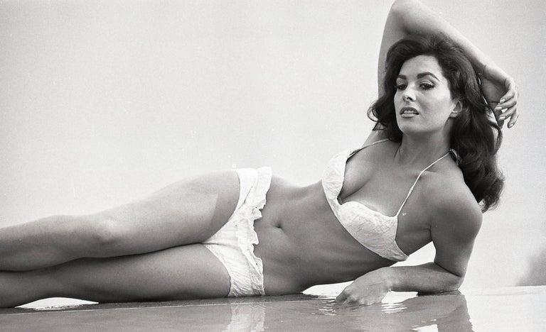 Ron Thai Black And White Photograph Sexy Portrait Of Edy Williams In White Bikini Fine