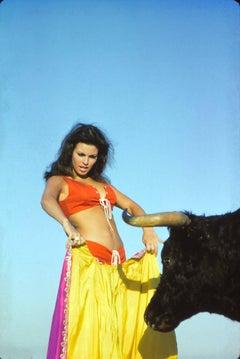 Closeup of Raquel Welch Bullfighting