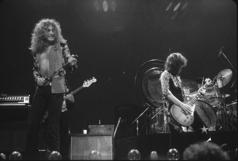 Robert Plant and Jimmy Page of Led Zeppelin Performing Fine Art Print