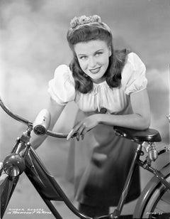 Ginger Rogers Leaning on Bike Fine Art Print