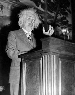 Dr. Albert Einstein Lectures Fine Art Print