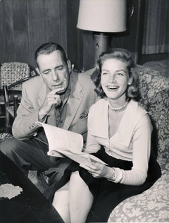 Humphrey Bogart and Lauren Bacall: Hollywood Couple on Couch Fine Art Print