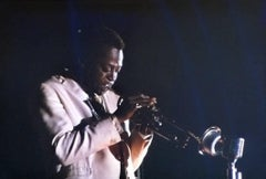 Miles Davis Playing on Stage Fine Art Print