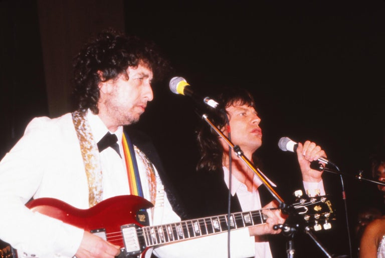 Bob Dylan and Mick Jagger Performing Together Fine Art Print