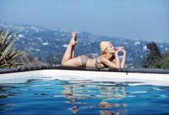 Julie Newmar Lying by the Pool Fine Art Print