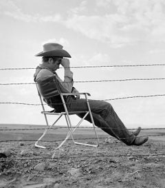 "James Dean Seated Behind Fence on the Set of ""Giant"" Fine Art Print"