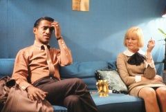 Sammy Davis Jr. and May Britt Seated on Couch Fine Art Print