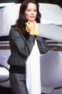 """Jaclyn Smith of """"Charlies Angles"""" Leaning on Plane Fine Art Print"""