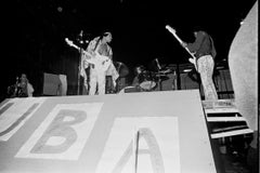Jimi Hendrix Playing with Band Shot From Below Fine Art Print