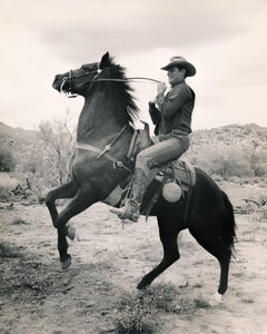 Charlton Heston Riding Horse Fine Art Print