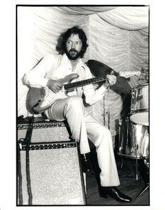 Eric Clapton Sitting on Amp, Playing Guitar Vintage Original Photograph