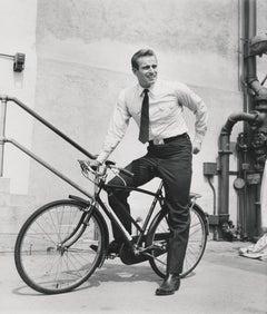 Charlton Heston Riding Bike Fine Art Print