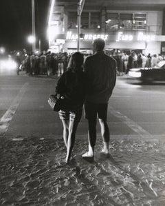 Lovers on a Busy Beach Street Scene Americana U.S.A. Fine Art Print