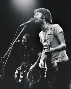 Eric Clapton Playing Guitar on Stage Fine Art Print