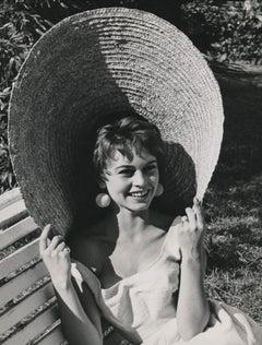 Brigitte Bardot in Oversized Hat Fine Art Print