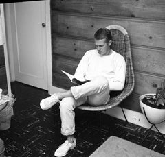 Steve McQueen Reading at Home Fine Art Print