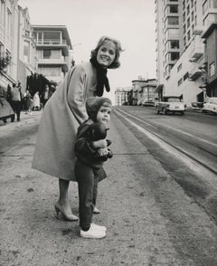 Debbie Reynolds and Young Carrie Fisher Crossing Street Fine Art Print