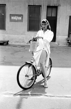 Julie Newmar on Bicycle Fine Art Print