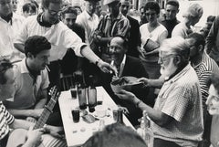 Ernest Hemingway with the Locals in Spain Fine Art Print