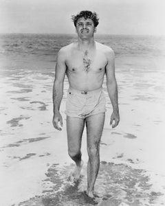 Burt Lancaster Smiling Shirtless on the Shore Fine Art Print