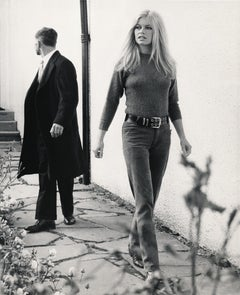 Brigitte Bardot Walking Candid in Blue Jeans Fine Art Print
