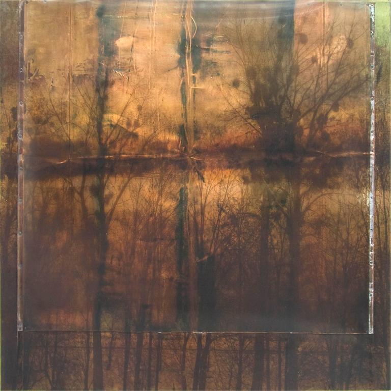 Dorothy Simpson Krause Mixed Media Art - Tarnished Trees