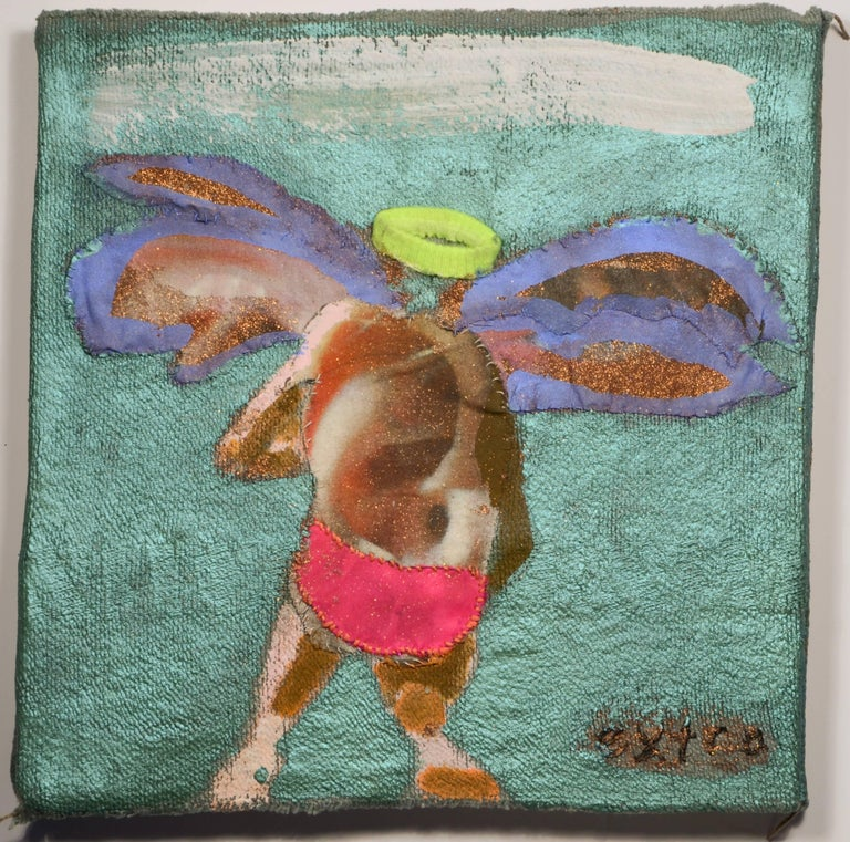 """Melora Griffis' """"extra (wing triptych)"""" is a 12 x 12 inch mixed media work in mixed fabric, acrylic, glitter and thread mounted on wood panel.  Against a painted metallic turquoise background, a winged figure stitched in separate pieces of scraps of"""