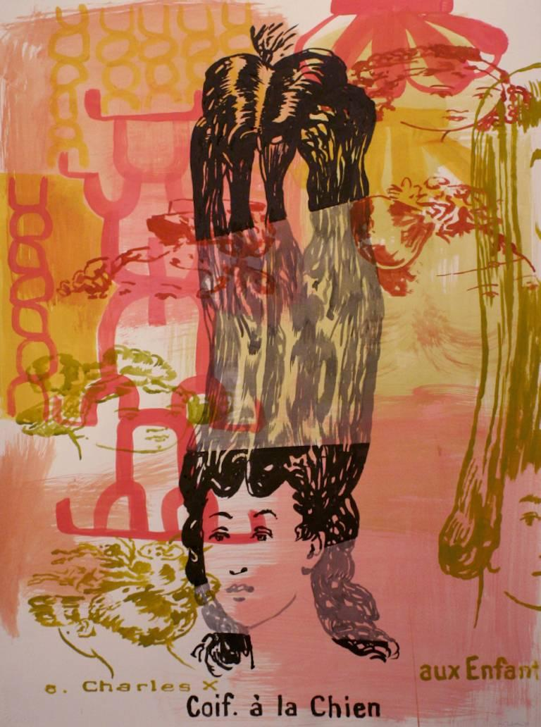 """Brian Fekete's """"Coif à la Chien"""" is an unframed 30 x 22 inch painting in watercolor, graphite and ink on paper.  A central figure of a woman with an extravagant and stretched hairstyle is presented against a painterly ground of brushy areas of pale"""