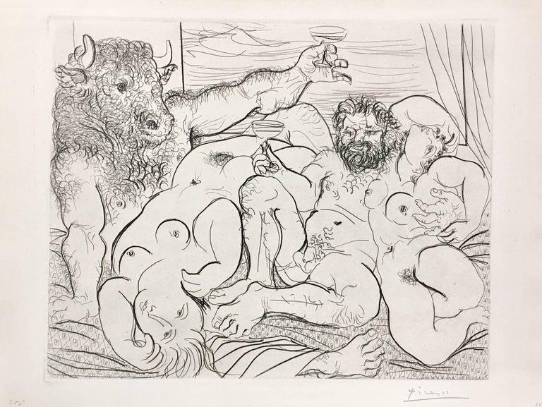 Pablo Picasso, Scène bacchique au Minotaure from La Suite Vollard, etching  - Print by Pablo Picasso