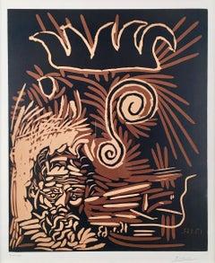 Pablo Picasso, Têtes (Le Vieux Bouffon), linoleum cut