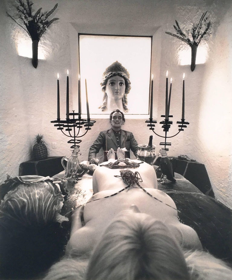 Werner Bokelberg Black and White Photograph - Dinner Party (Dali mit model)