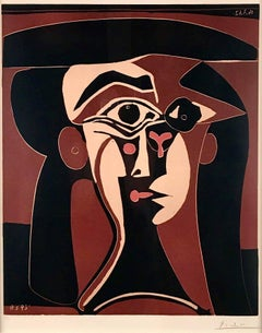Pablo Picasso, Tête de Femme, original linoleum cut