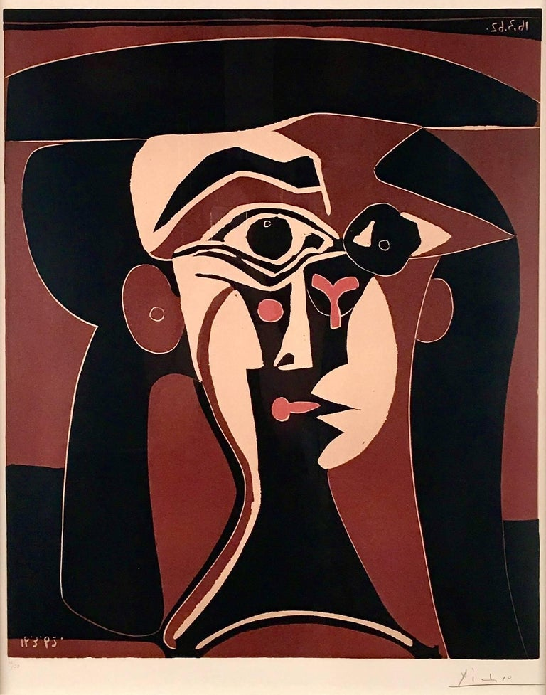Pablo Picasso, Tête de Femme, original linoleum cut  - Print by Pablo Picasso