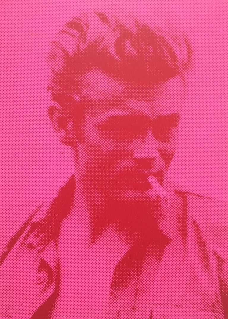 Russell Young Portrait Print - James Dean (Pink and Red)
