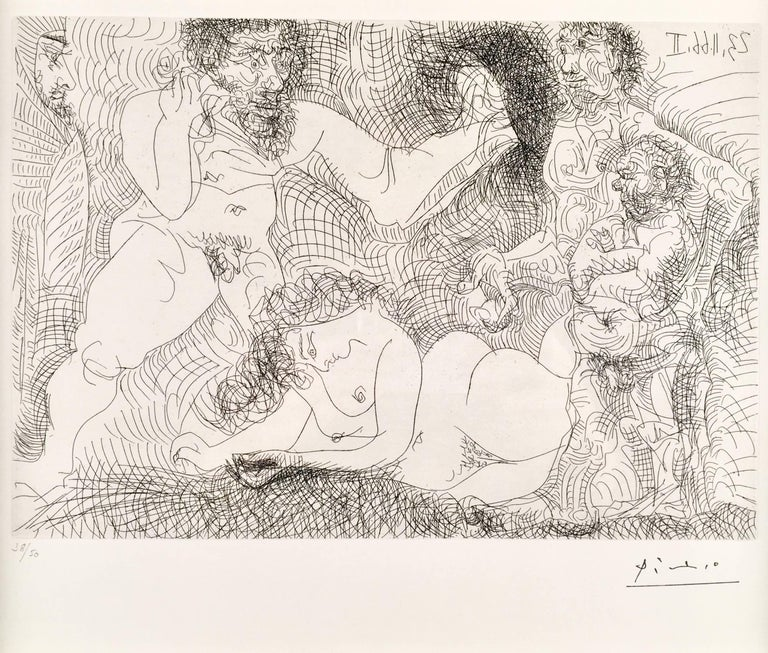 Pablo Picasso, Untitled from 23 novembre 1966 II, etching - Print by Pablo Picasso