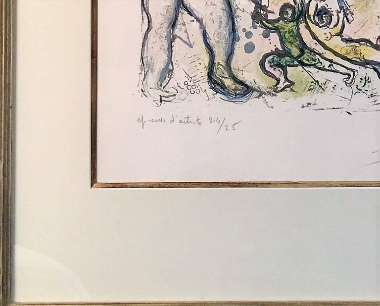 Plate 8 from In the Land of the Gods - Gray Figurative Print by Marc Chagall