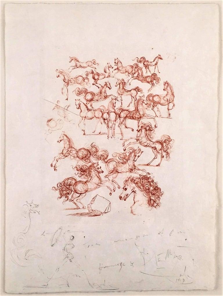 Les petits chevaux from Poemes de Mao-tse-toung - Mixed Media Art by Salvador Dalí