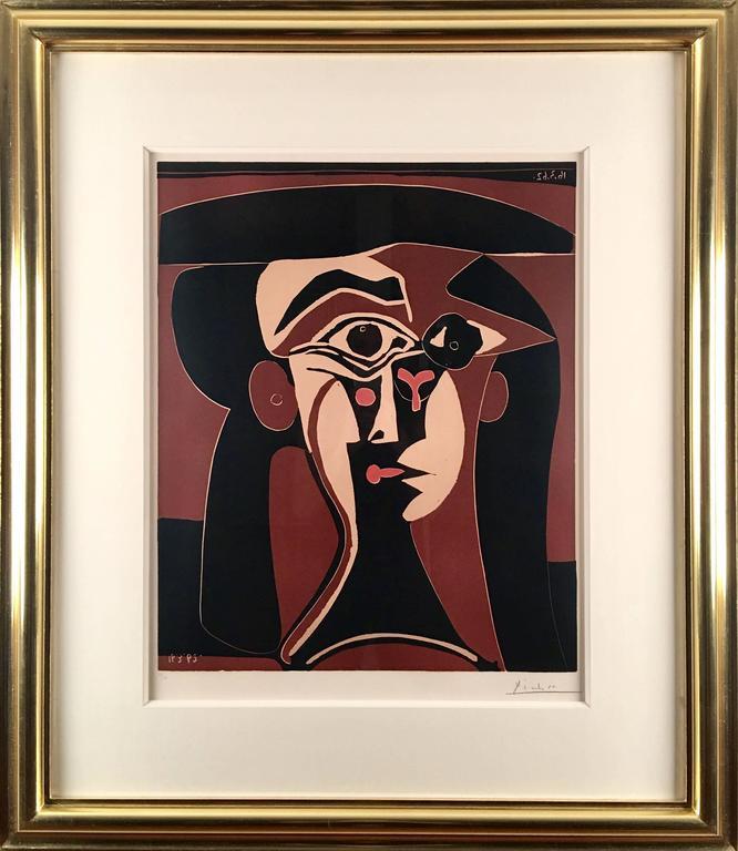 Pablo Picasso, Tête de Femme, original linoleum cut  - Modern Print by Pablo Picasso