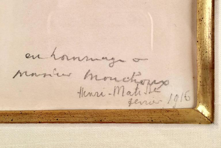 This piece is a unique, original pencil drawing on paper by Henri Matisse, created in 1916.  It is hand signed, dated, and also bears a hand-written message from Matisse that reads