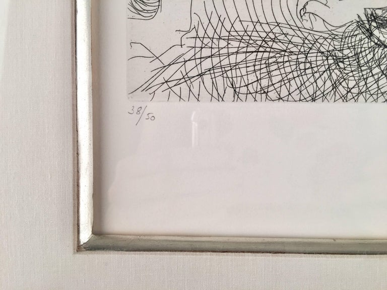 This piece is an original etching created by Pablo Picasso in 1966 .  It is stamp signed and numbered from the edition of 50.  This piece measures 8.8 x 12.8 inches and the framed dimensions are 19.75 x 22 inches.  It is referenced as number 1426 in