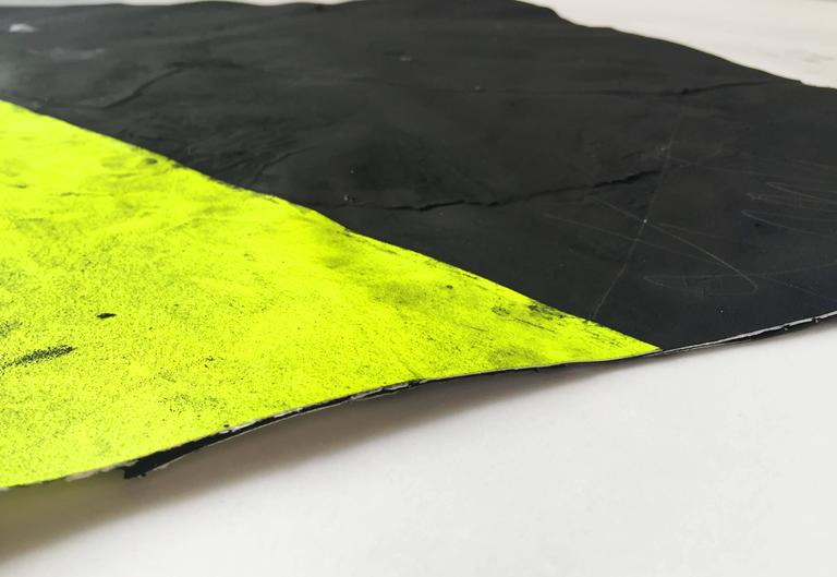 from Afghan Kite series. neon yellow against pure black, creating a bold composition   Chicago painter Wesley Kimler once referred to himself as the