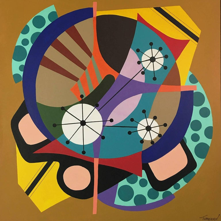 "Amauri Torezan Abstract Painting - Acrylic on Canvas Titled ""Sparkling Wheel"""