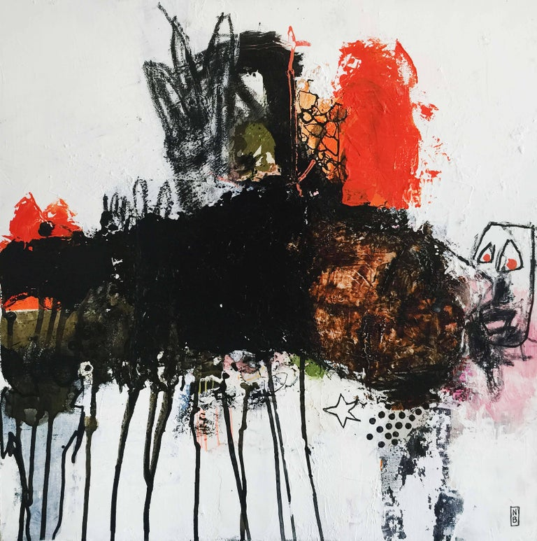 """Nadine Bourgne Abstract Painting - Painting on Canvas TItled: """"Mille pattes"""""""