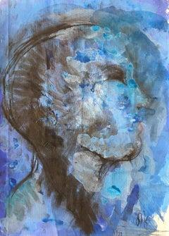 Oil Painting Titled: Cabeza Azul